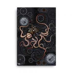 CAVIS Steampunk Octopus Gears Canvas Art Print - 24x36 inch