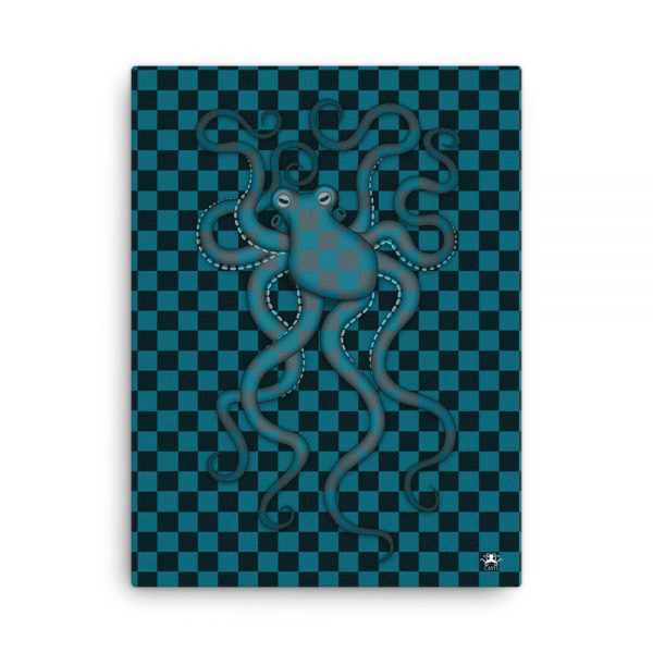 CAVIS Checkered Octopus Bubbles Gallery Wrapped Canvas Wall Art 18x24