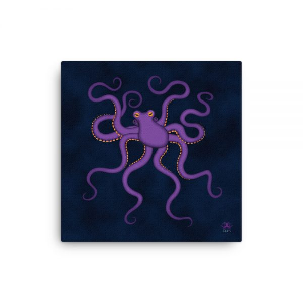 CAVIS Purple Octopus Gallery Wrapped Canvas Wall Art 12x12