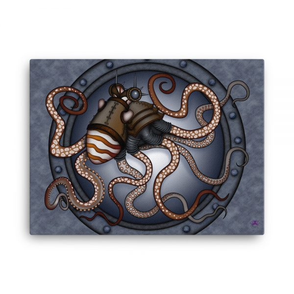 CAVIS Steampunk Octopus Canvas Art Print - 18x24 inch