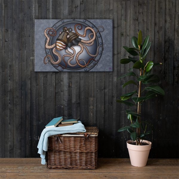 CAVIS Steampunk Octopus Canvas Art Print - 24x36 inch Lifestyle 2
