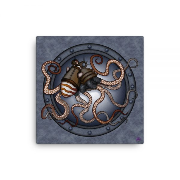 CAVIS Steampunk Octopus Gears Canvas Art Print - 12x12 inch