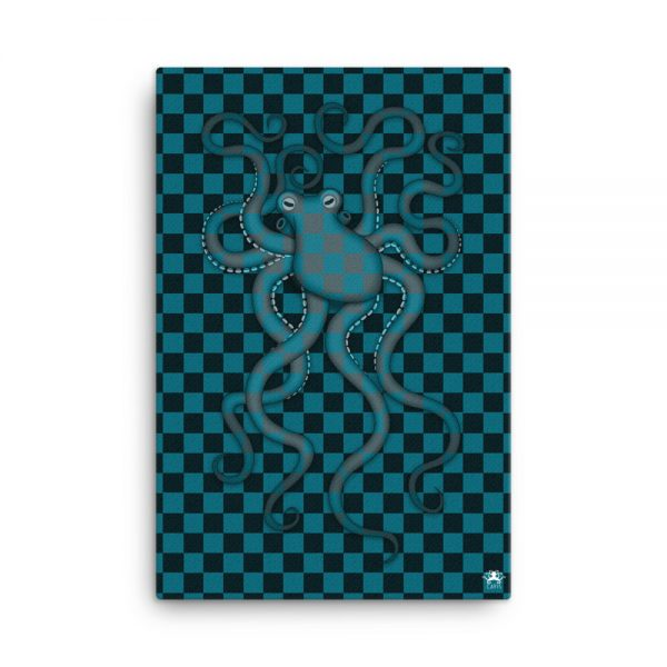 CAVIS Checkered Octopus Bubbles Gallery Wrapped Canvas Wall Art 24x36