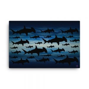 CAVIS Sharks on Blue Background Hammerhead Canvas Art Print - 24x36 inch