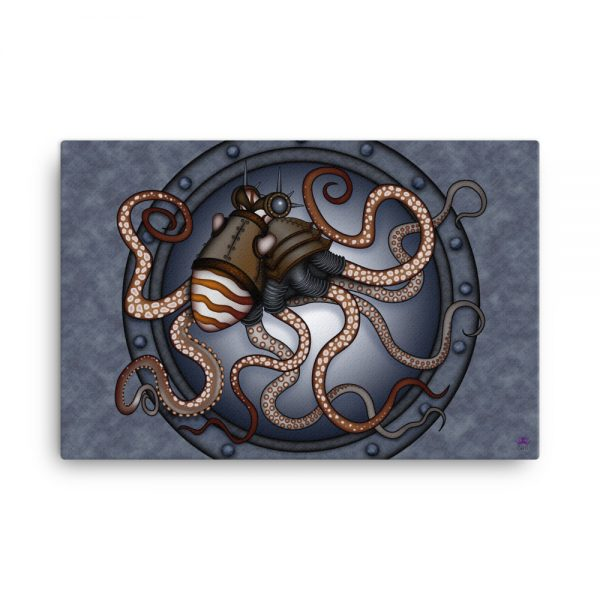 CAVIS Steampunk Octopus Canvas Art Print - 24x36 inch
