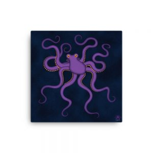 CAVIS Purple Octopus Gallery Wrapped Canvas Wall Art 18x18