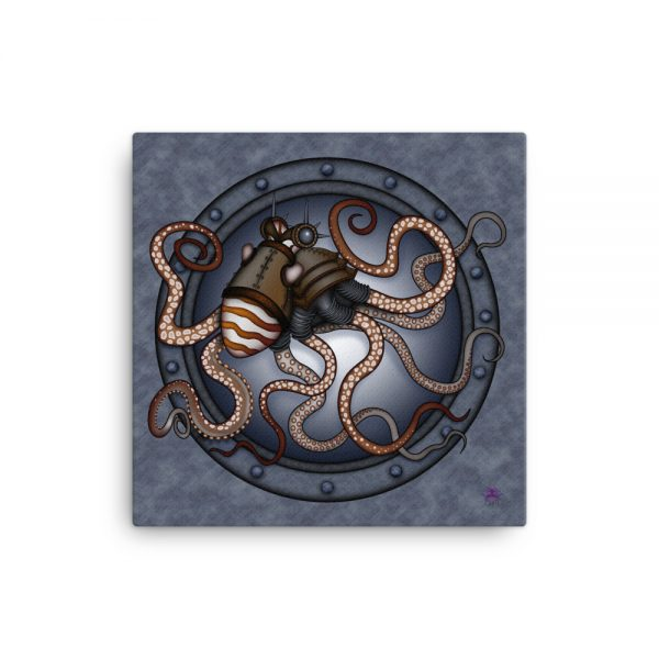 CAVIS Steampunk Octopus Gears Canvas Art Print - 18x18 inch